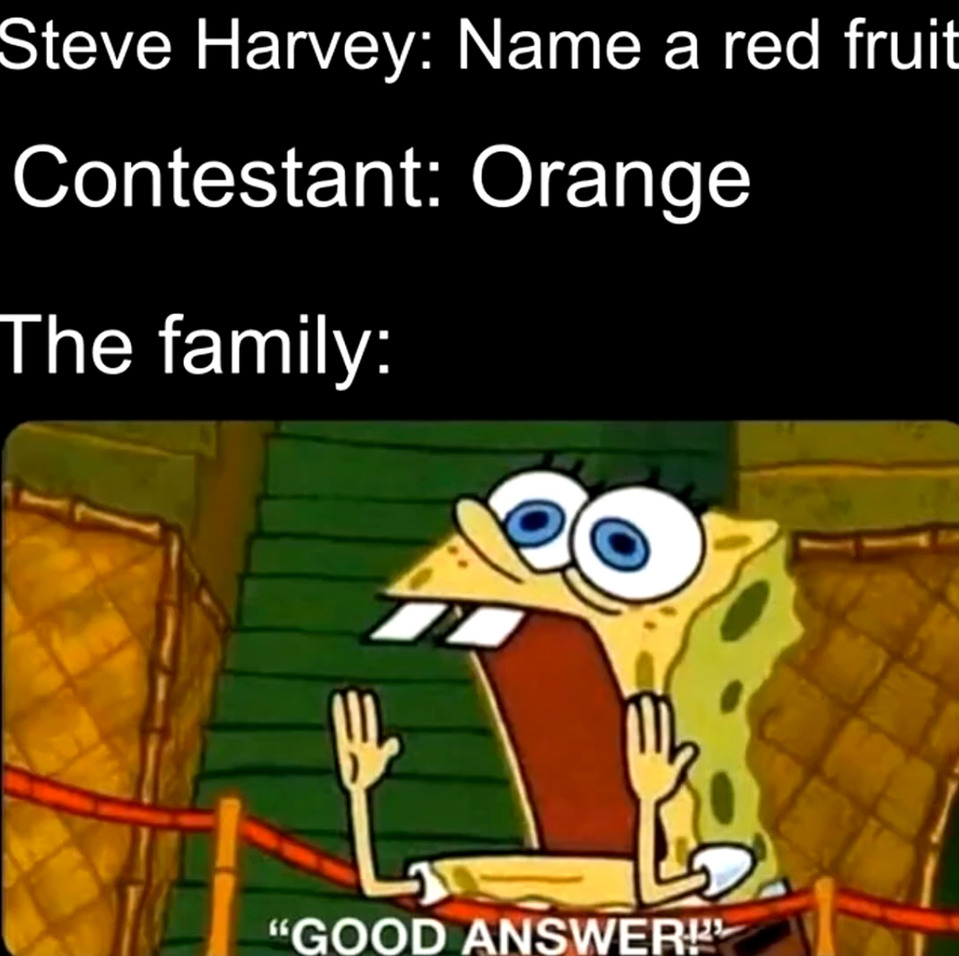 Wow oranges are red - meme