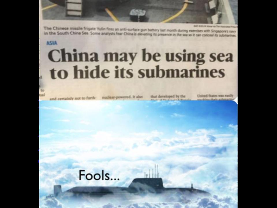La chine cache ses sous-marins  dans la mer - meme