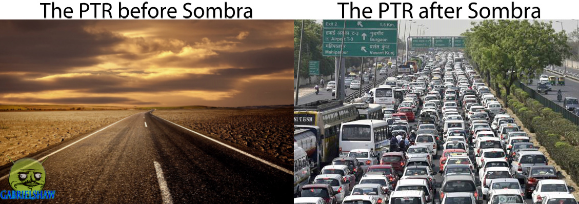 For those who don't know, the PTR is the Overwatch Play Test Region, where users beta test updates. Normally, it's just a minor patch, so not that many people play on it, but now you can play as Sombra, the new hero, so everyone's going there now. - meme