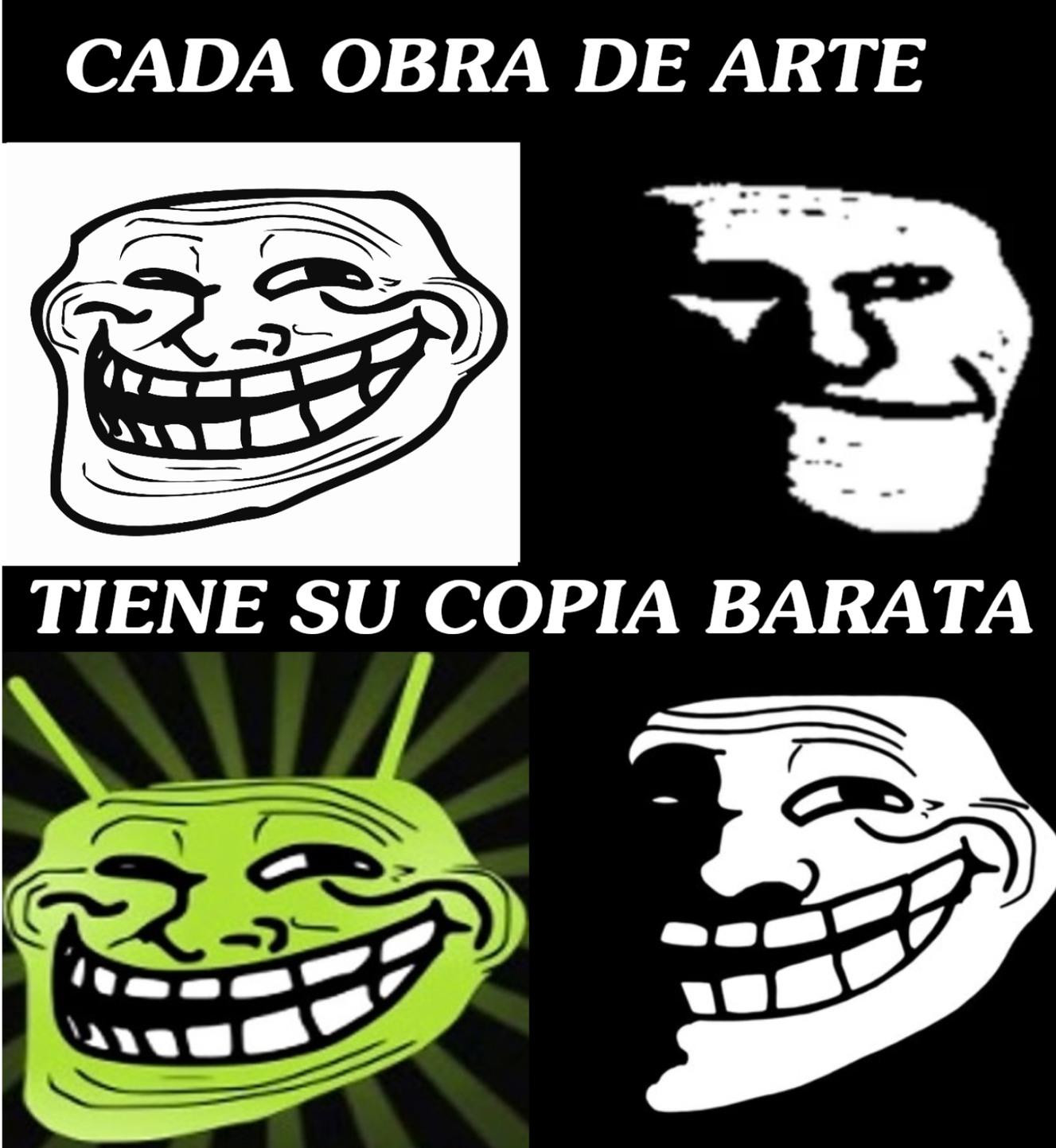 la copia barata de troll face y troll facedark XD - meme