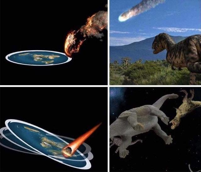 Flat earthers explanation to the extinction of dinosaurs - meme