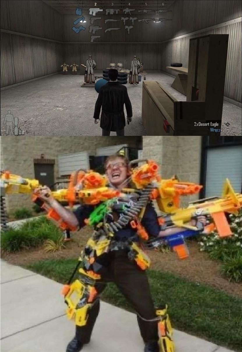 Cuando en el juego podés llevar más de 3 armas. - meme