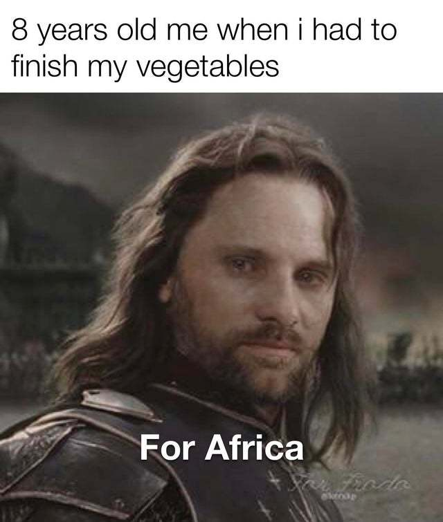 8 Years old me when I had to finish my vegetables - meme