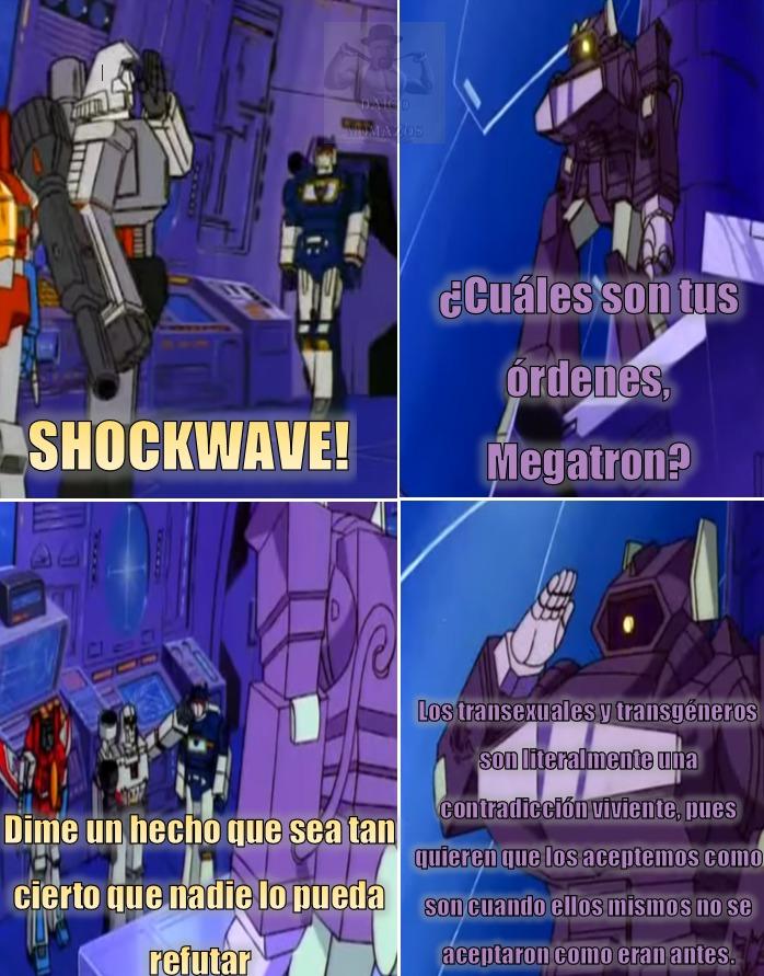 El Shockwave de las caricaturas era alto chad :chad: . Y su voz era ciertamente divina, no entiendo por qué se la cambiaron - meme