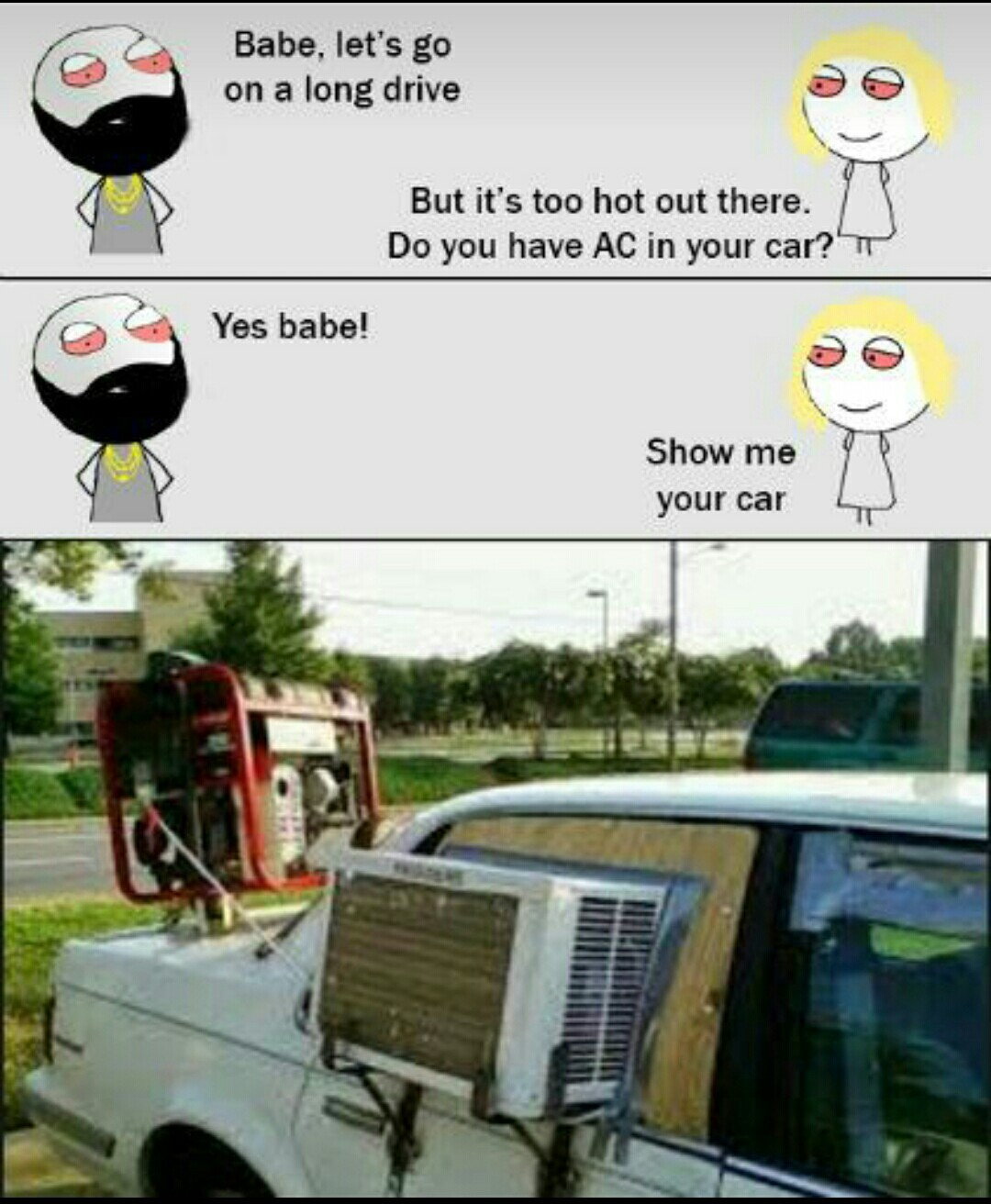 AC in the car - meme