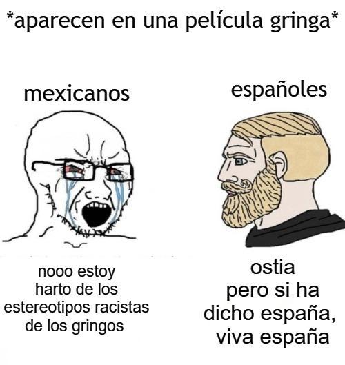 españoles en peliculas gringas - meme