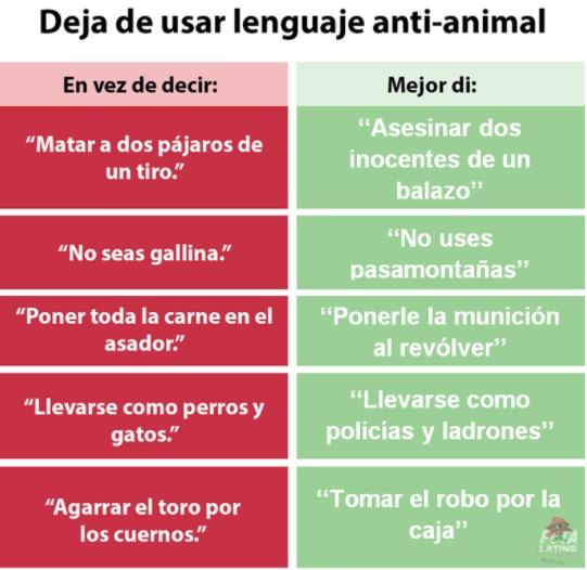Ya saben, no usen lenguaje que ofende a los animales y usen este que incita a la violencia - meme