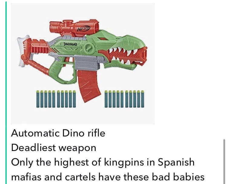 dongs in a Dino nerf gun - meme