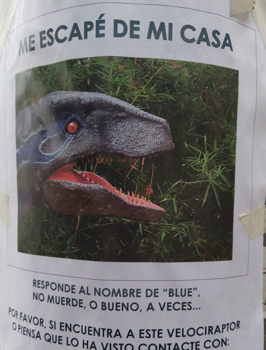 Gente se me perdió mi velocirraptor - meme