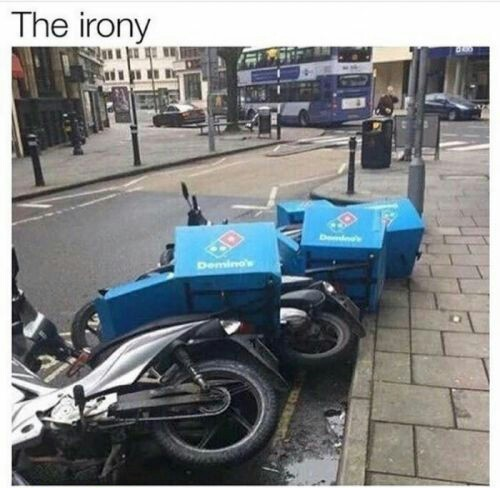 All those bikes with pizzas fell like a bunch of-uh-um .....leaves on a cool autumn day. - meme