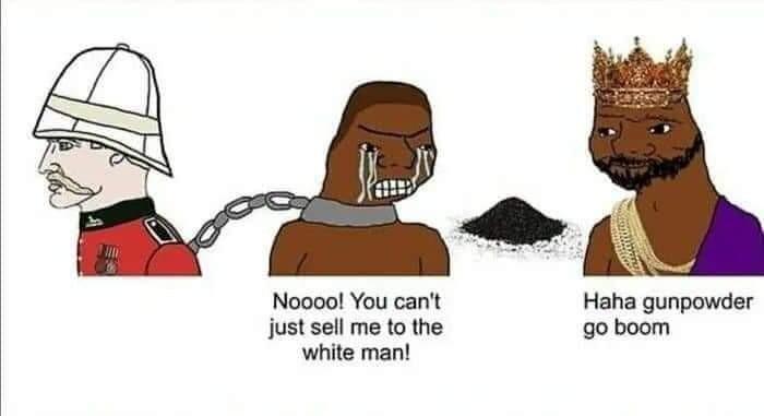 Rei do congo vendia escravos - meme