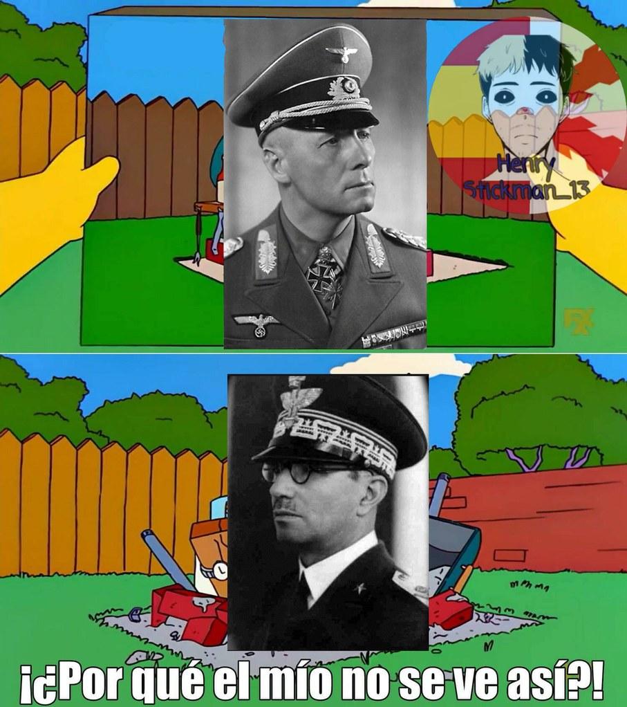 Contexto: Arriba, Erwin Rommel, el mejor estratega militar de la ww2, abajo un general italiano que, igual que su país, fue horriblemente inútil. - meme