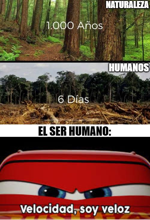 humanos 1/naturaleza 0 - meme