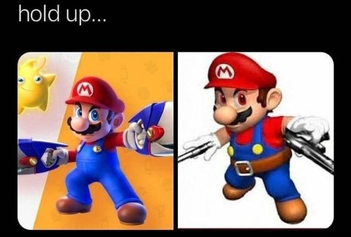 No creen que las armas de Mario lo hacen parecer a Star Lord? - meme