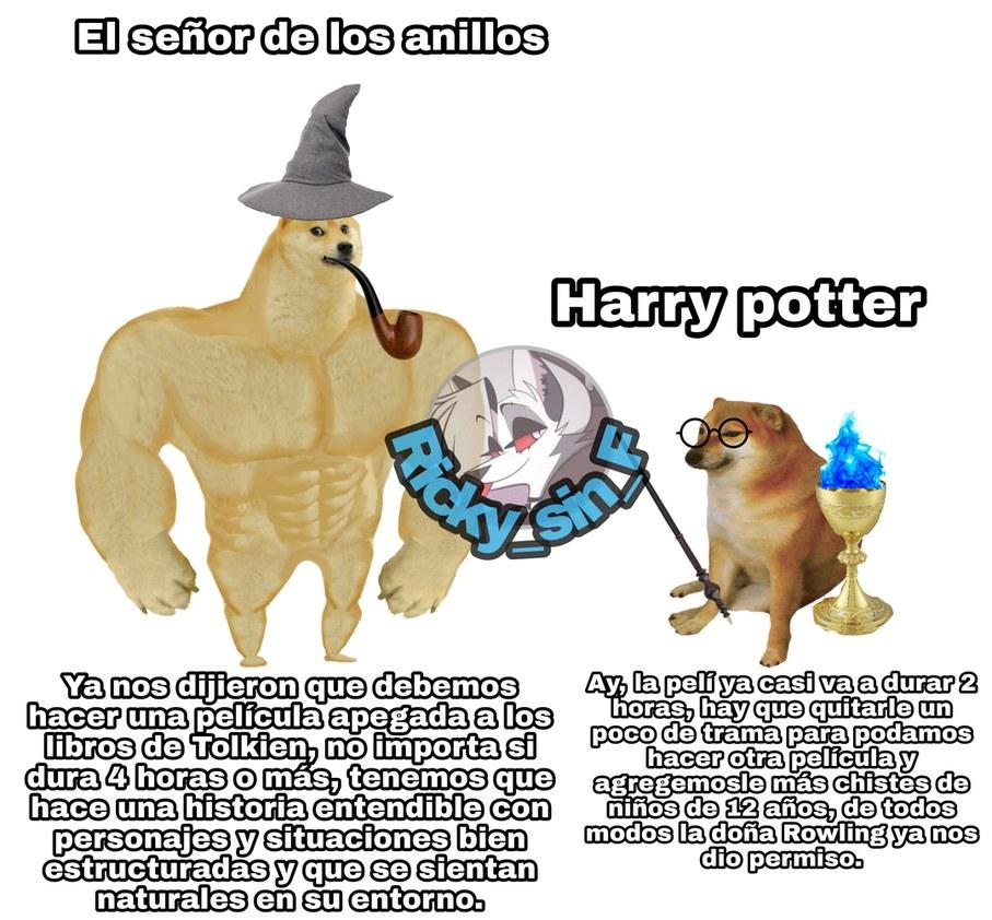 Lo que dice en el meme es verdad, pero no hay que negar que en ediciones mád tarde de los libros de Harry Potter, fueron arreglando todo e hicieron que si sea disfrutable el libro, no por nada tengo 4 libros de el y solo 1 del Hobbit.