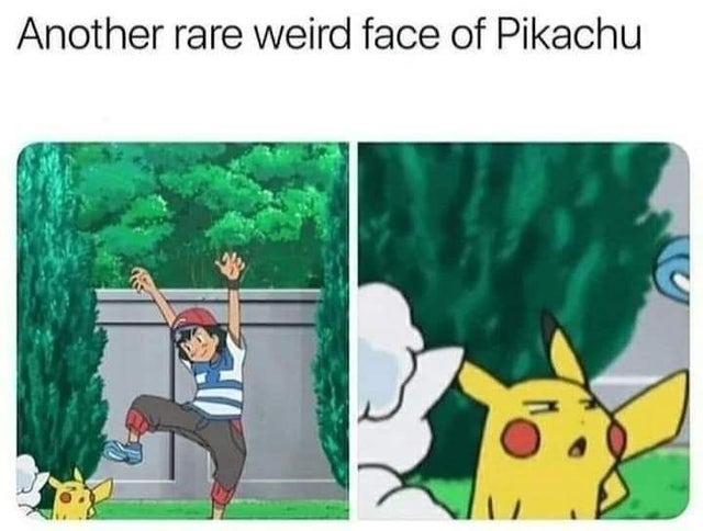 Another rare weird face of Pikachu - meme
