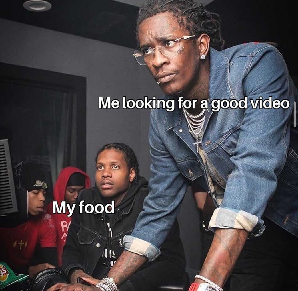 cannot eat without something good to watch - meme