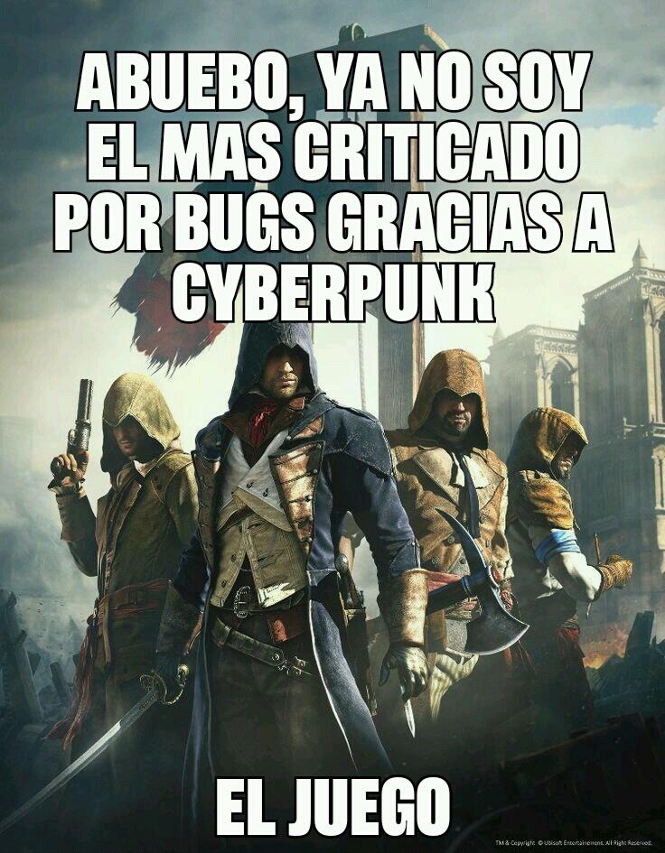 Assassins creed unity actualmente si lo quieres jugar sin bugs, compralo con todos los dlc - meme