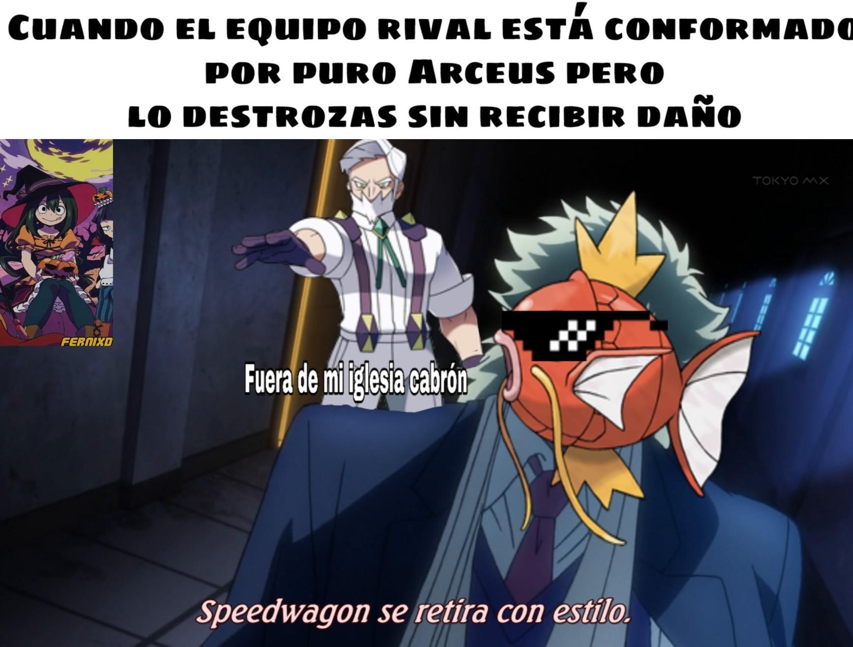 Alaben todos al caballero Magikarp que con azote en set logró derrotar al dios de los Pokémon. (resubido) - meme