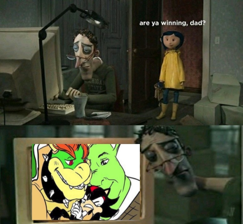 Shrek+Bowser X Shadow - meme