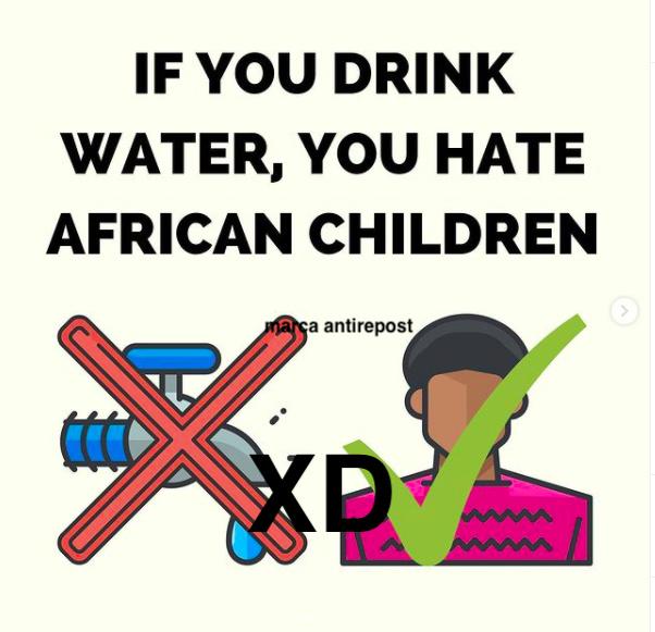 bruh (lamento el meme en ingles) traducción si tomas agua odias a los niños africanos