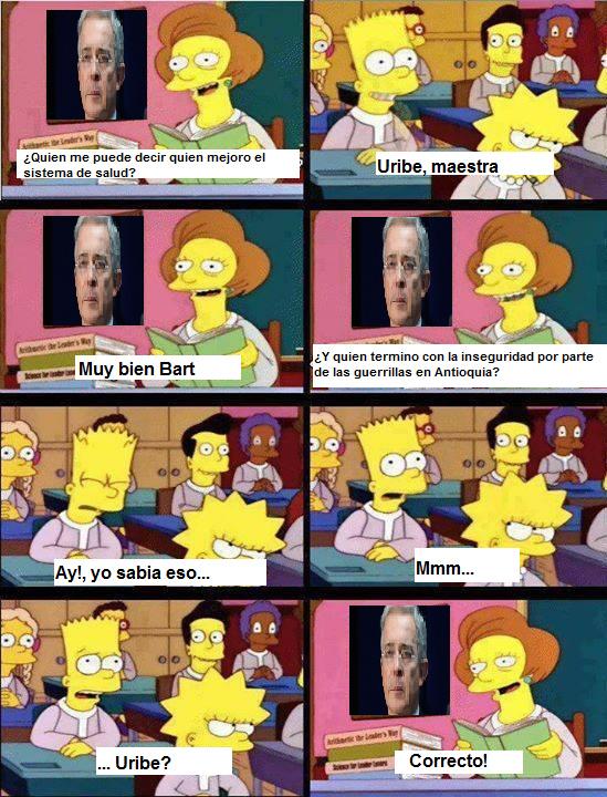 Tengo un amigo uribista, y siempre que critican a Uribe, el weon empieza a decir solo las mierdas de que el creo a los paramilitares y que hizo la ley 100, 2 weas que jodieron al país - meme