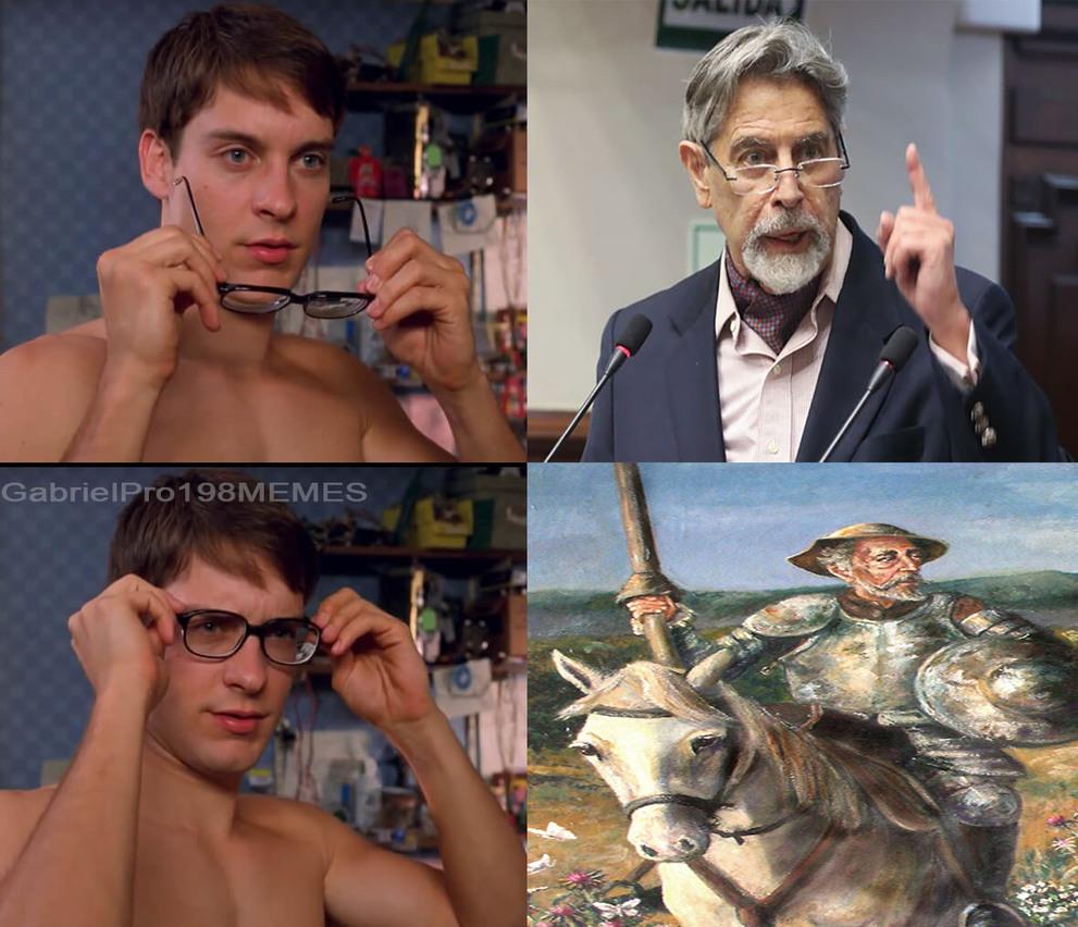 Nose, ami se me hacia parecido, PD: El primero es el nuevo presidente del Perú, (si el 3ro del mes) y el de abajo es Don Quijote de la Mancha - meme