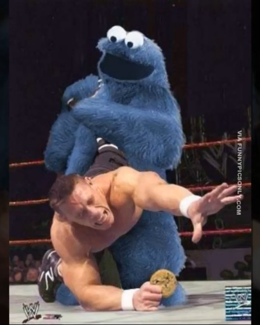 Cookie Monster saw Cena - meme