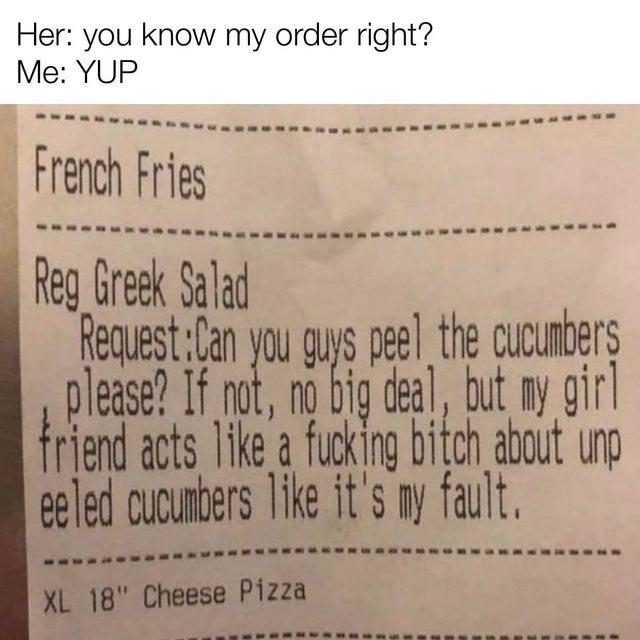 Peel the cucumbers please - meme