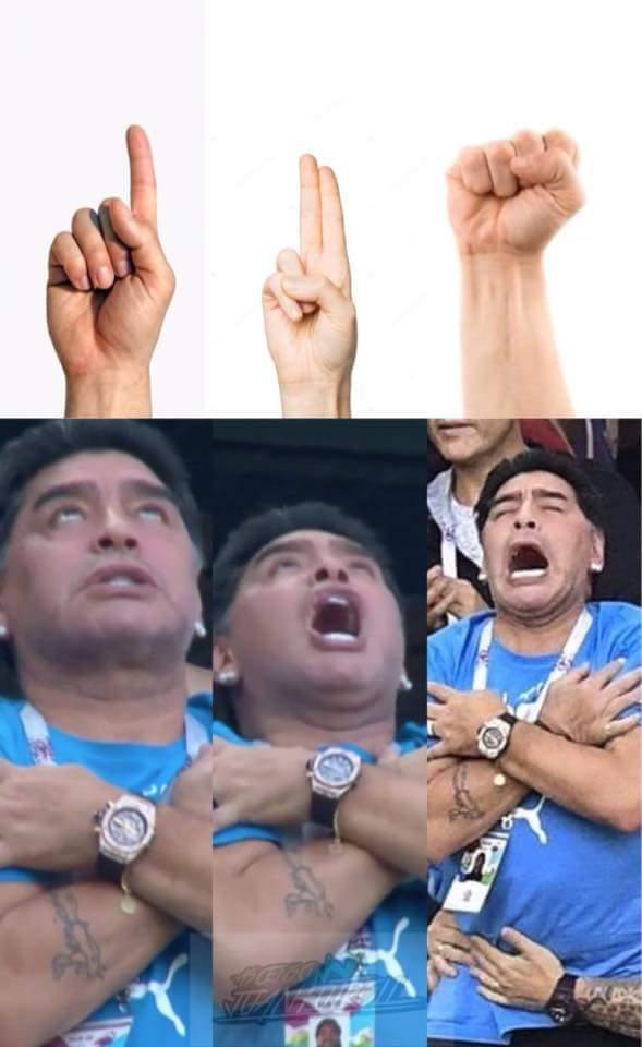 Me salio pasiva Maradona - meme