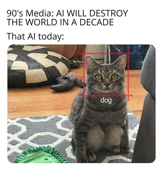 It doesn't seem like AI will destroy the world soon - meme
