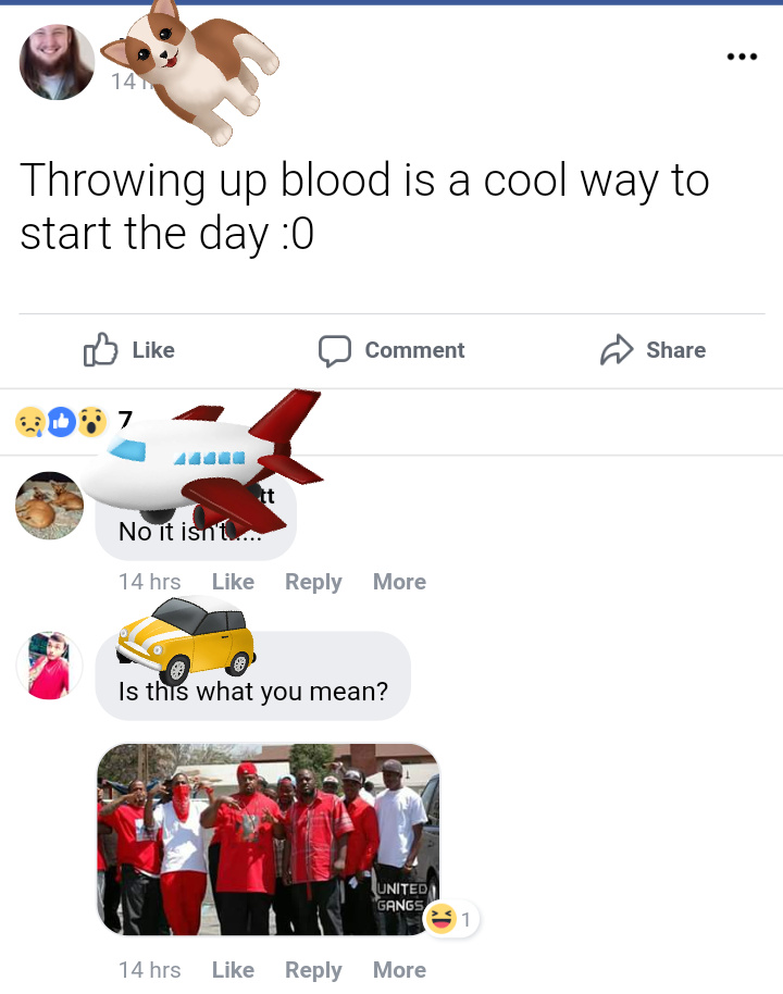 """Throwing up blood"" lol - meme"