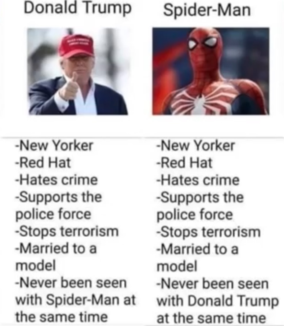 Donald trump and spider man - meme