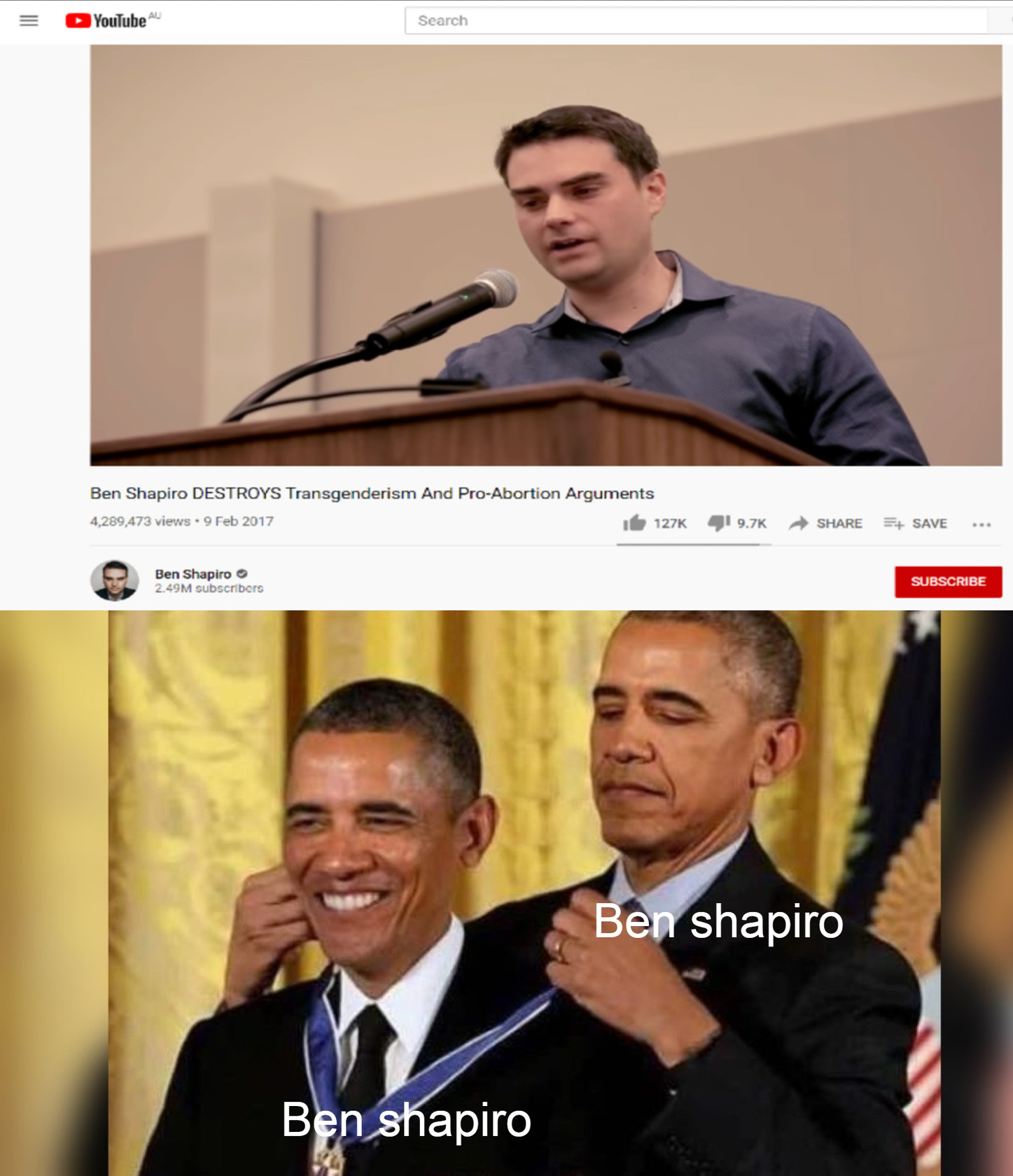 It's an old video but I don't watch Shapiro so shut up - meme