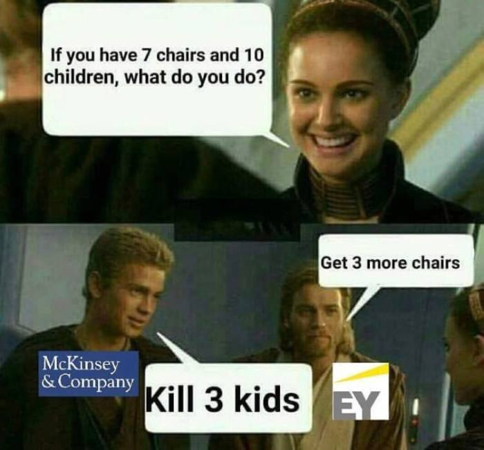 kill 3 kids or get 3 more chairs? - meme
