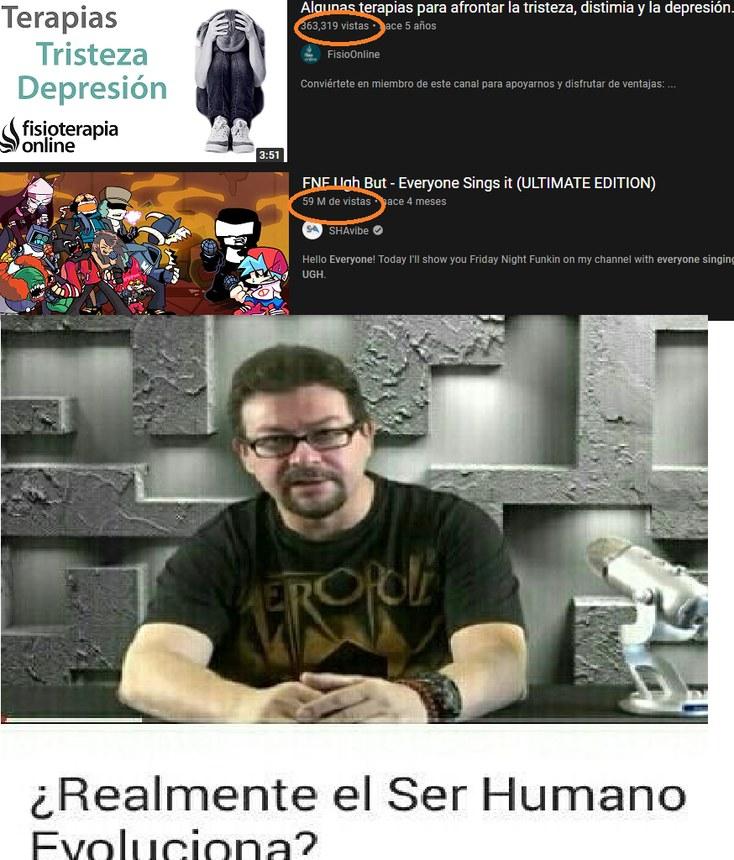 video para curar la depresion:363 mil visitas, video sobre friGAY night funkin 59 millones de visitas - meme