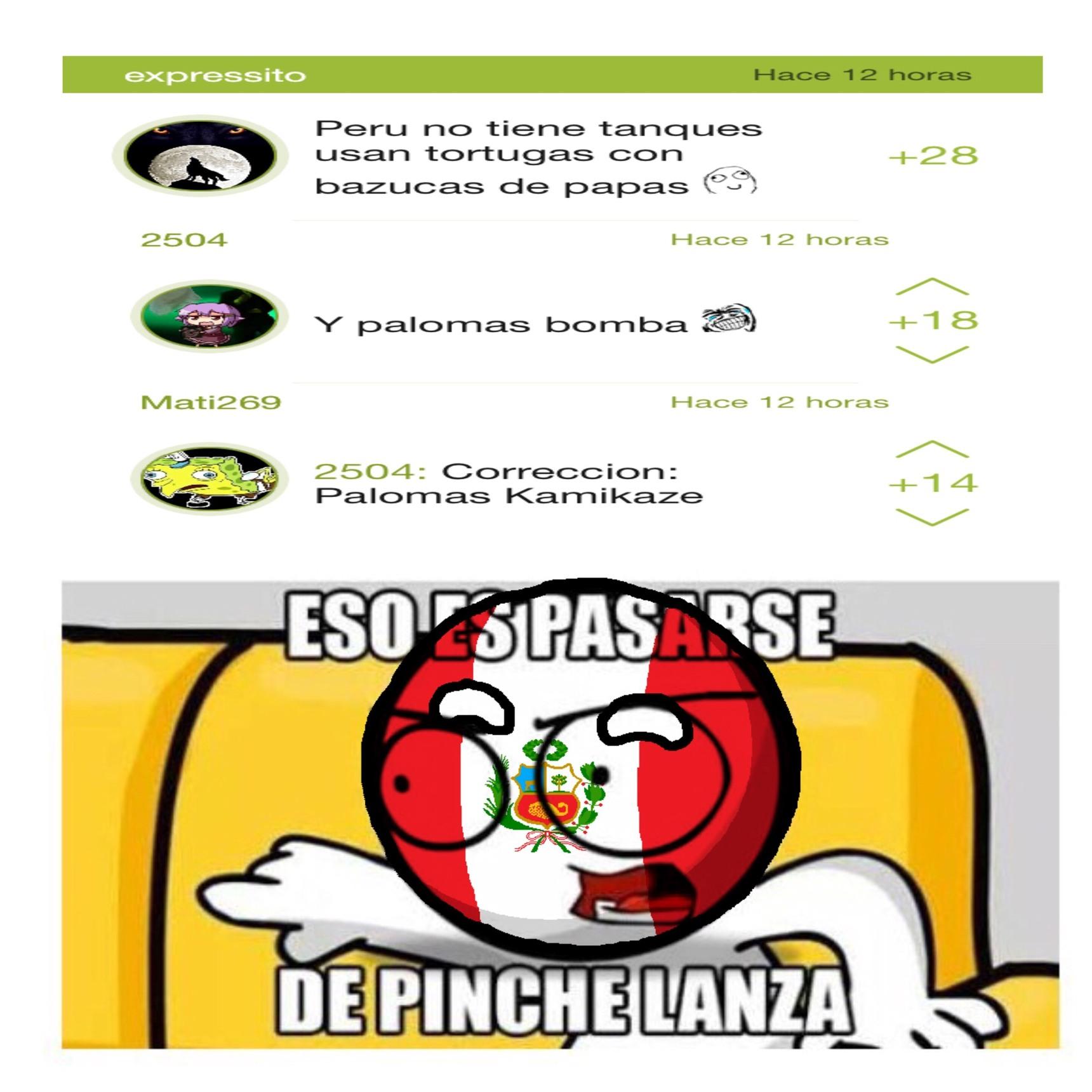 Perdón por superponer la countryball de Perú, no sé cómo se utilizan todas las herramientas (espero no ofender, Viva Perú) - meme