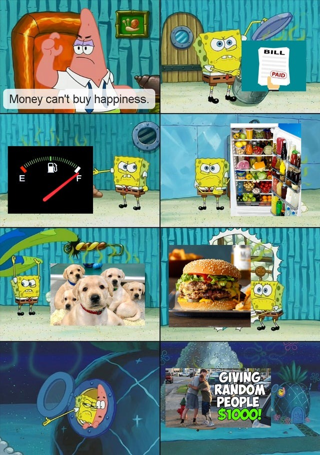 Money can't buy happiness - meme