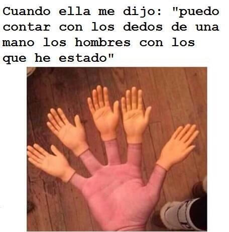 Con los dedos de la mano ( si claro ) v: - meme
