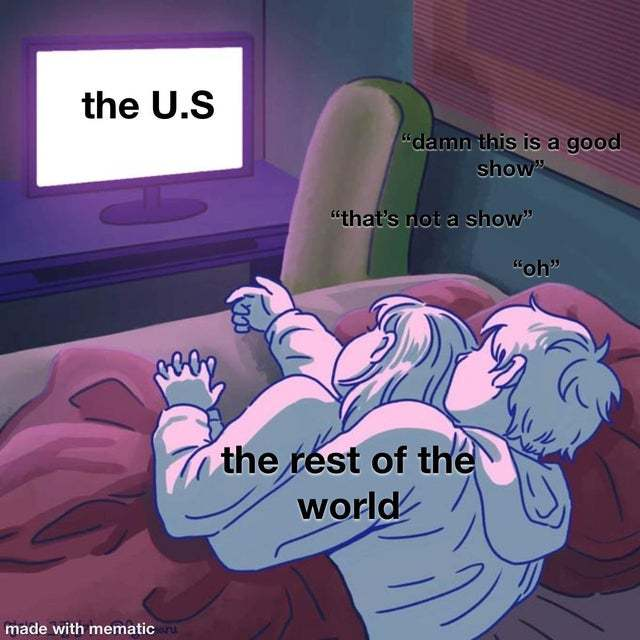 The world is looking at the US - meme