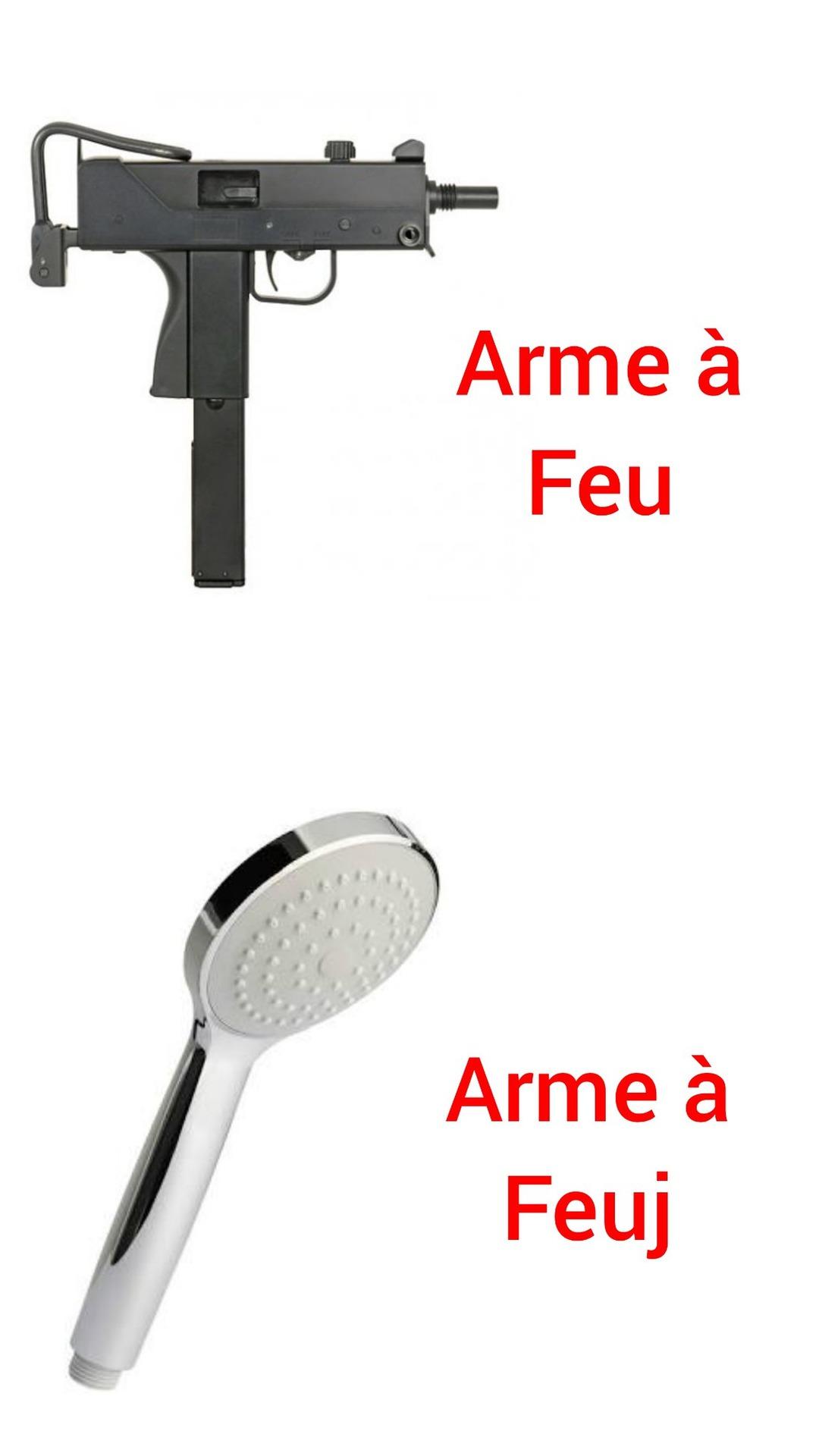 Mac10 vs pommeau de douche - meme