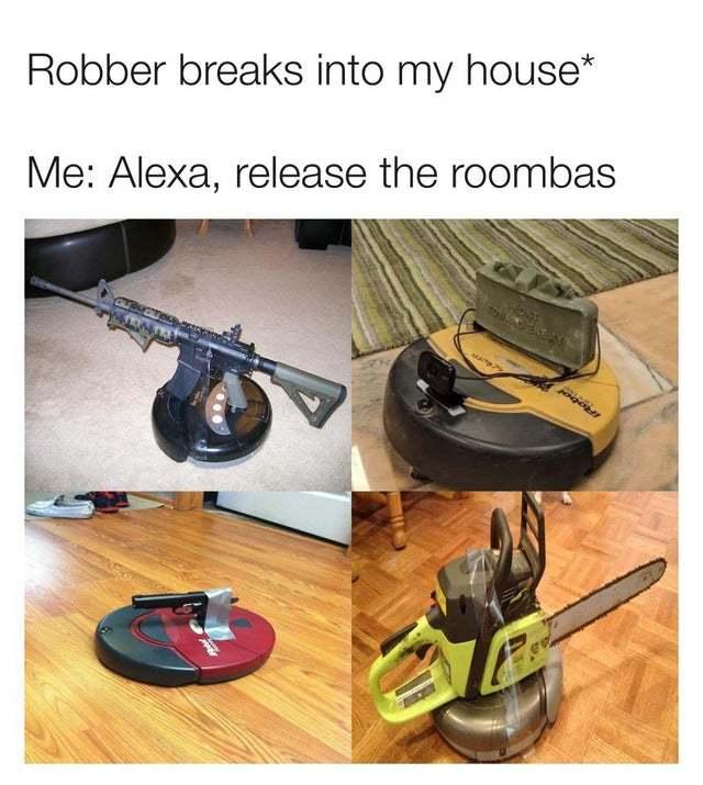 Alexa, release the Roombas - meme