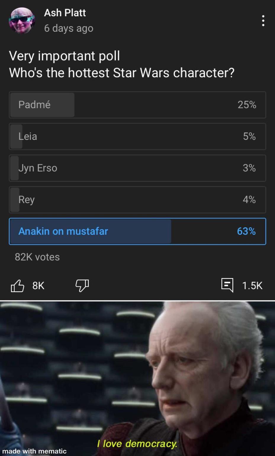 Anakin is a hottie - meme