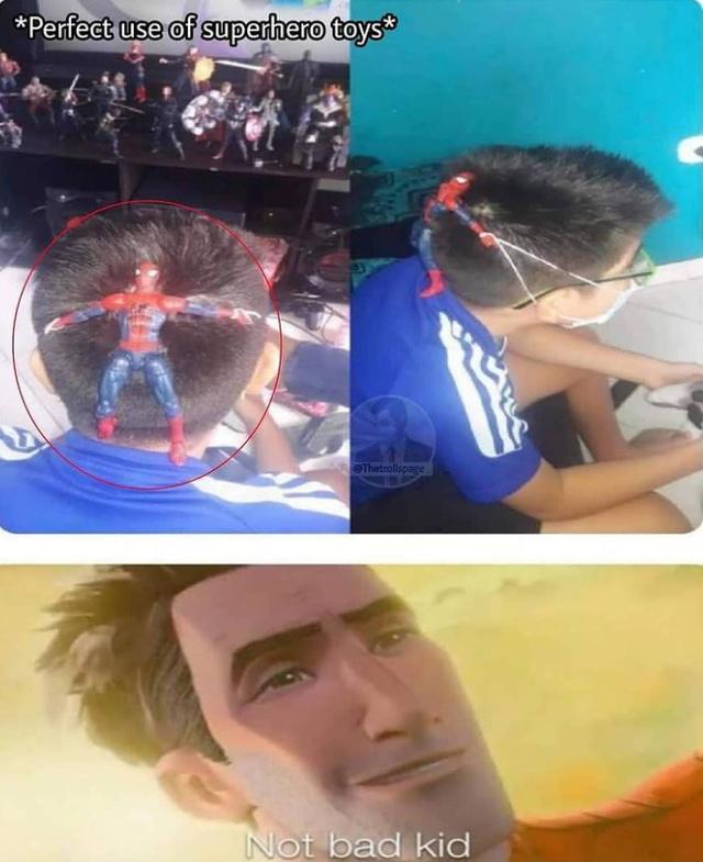 Perfect use of superhero toys - meme