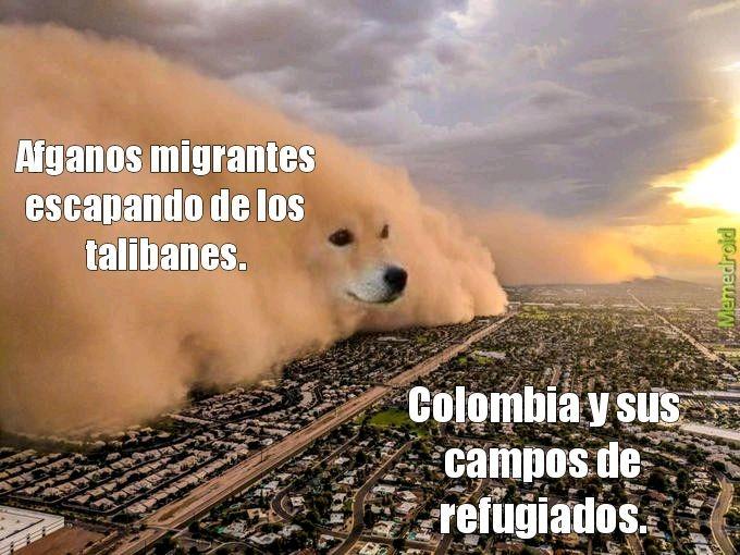 Contexto: En vista de que los talibanes tomaron el control parcial de Afganistán, los que huyen del país migran a colombia donde hay campos de refugiados para acogerlos. - meme