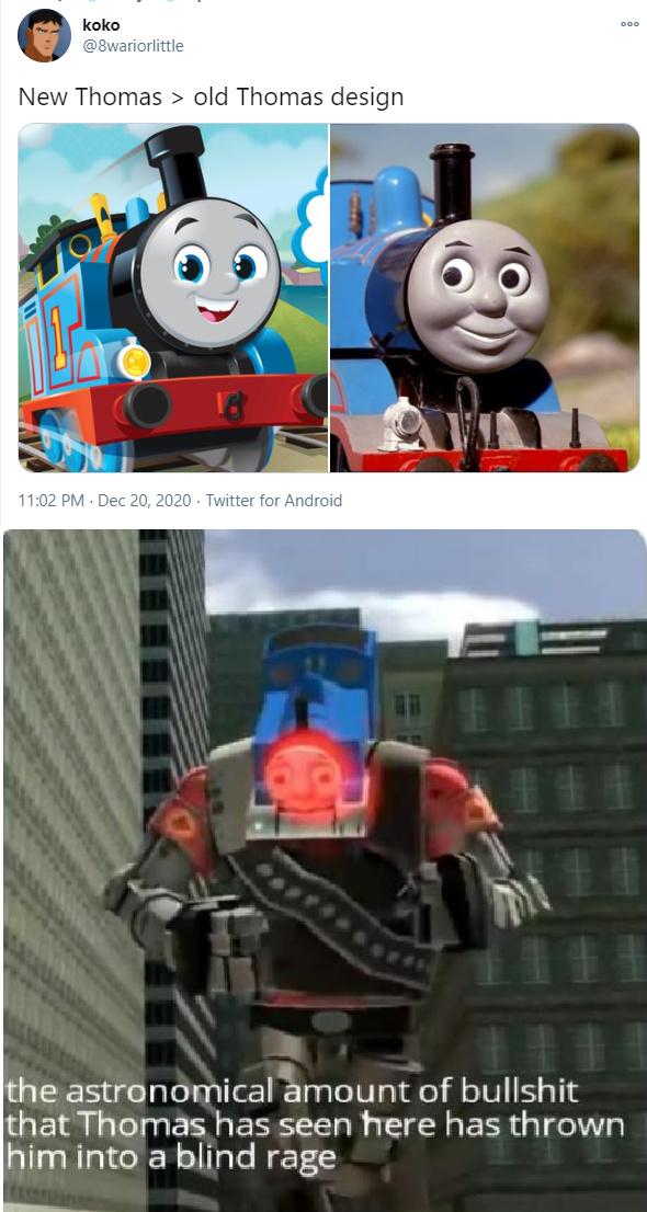 No te puedes llamar a tí mismo un fanático de Thomas si te gusta el diseño del Reboot del 2021. - meme