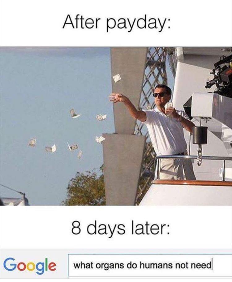 Quand tu reçois ta paye Vs. 8 jours après - meme