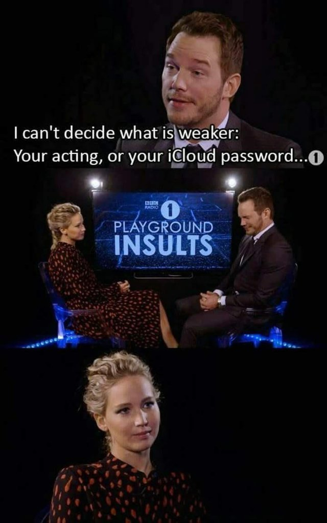 Chris Pratt vs Jennifer Lawrence - meme