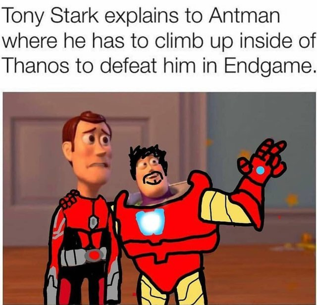 Tony Stark explains to Antman where he has to climb up inside of Thanos to defeat him in Endgame - meme
