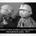 Vladimir Lênin convida um jovem trabalhador ao partido bolchevique